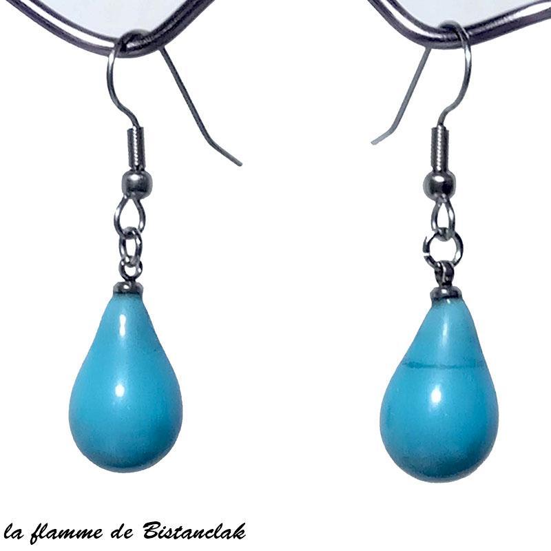 Boucles d oreilles goutte de verre file bleu turquoise opaque vendues en ligne
