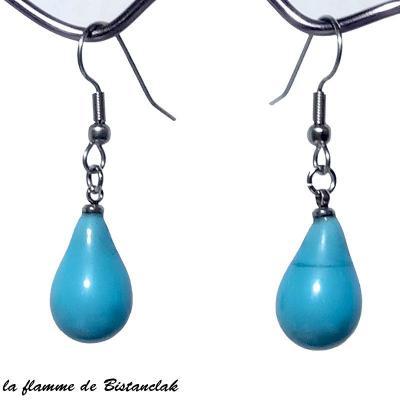 boucles d'oreilles goutte de verre turquoise opaque