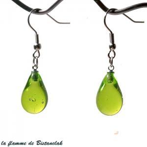 Boucles d oreilles goutte de verre file coloree vert pomme transparent