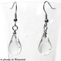 Boucles d oreilles goutte de verre file transparente fabrication artisanale francaise par bistanclak