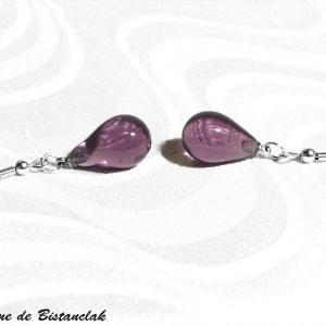 Boucles d oreilles goutte en verre file rose glycine vendue en ligne