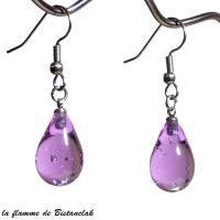 Boucles d oreilles gouttes de verre couleur alexandrite