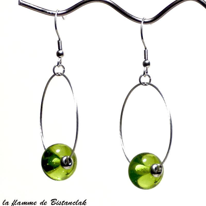 Boucles d oreilles perles de verre file vert pomme vendue en ligne