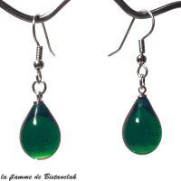 Boucles d oreilles verre file goutte de verre vert emeraude
