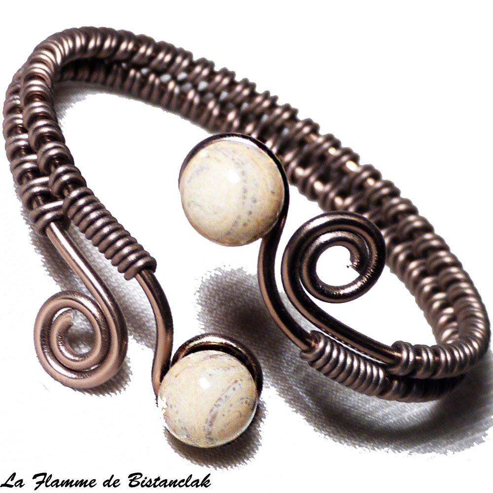 Spiraleamp; Gris Perles Craquelé De Verre Ivoire Bracelet u1JTlK5cF3