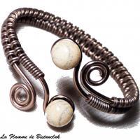 Bracelet artisanal perles de verre ivoire craquele gris et spirale chocolat