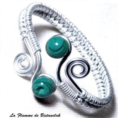 Bracelet spirale & perles de verre pétrole