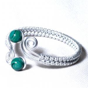 Bracelet artisanal perles de verre vert bleu canard spirales argentees 2