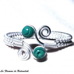 Bracelet artisanal perles de verre vert bleu canard spirales argentees 3