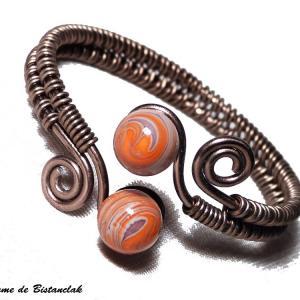 Bracelet artisanal spirale chocolat perles de verre violet et orange chamarre 1