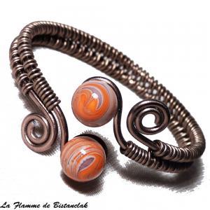 Bracelet artisanal spirale chocolat perles de verre violet et orange chamarre 2