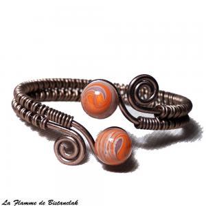 Bracelet artisanal spirale chocolat perles de verre violet et orange chamarre 4