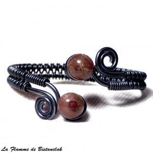 Bracelet artisanal spirales noir perles de verre paillete cuivre 2