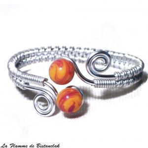 Bracelet spirale argente perles de verre jaune et rouge chamarre 2