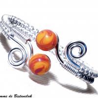 Bracelet spirale argente perles de verre jaune et rouge chamarre