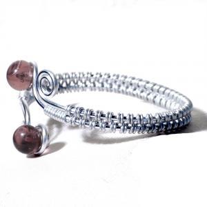 Bracelet spirale argente perles de verre rose transparent 1