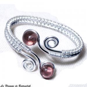Bracelet spirale argente perles de verre rose transparente 1