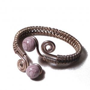 Bracelet tresse a spirales chocolat perles de verre glycine mauve chamarre 1