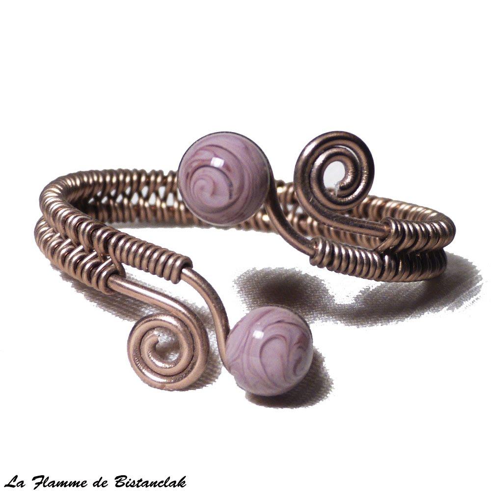 Bracelet tresse a spirales chocolat perles de verre glycine mauve chamarre 3