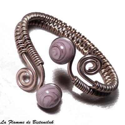 Bracelet spirale & perles de verre violet glycine chamarré