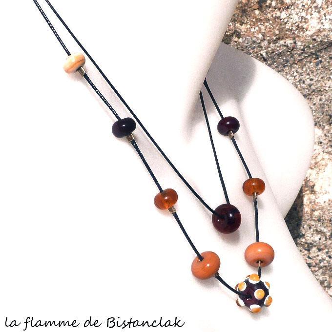 collier double-rang de perles de verre filé couleur topaze, brun et cuivre