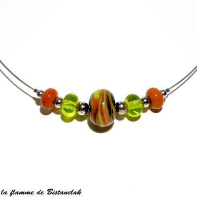 Collier perles de verre vert pomme et cuivre collection chamarré