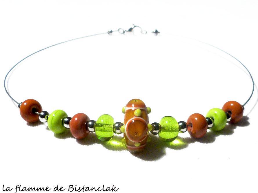 Collier artisanal perle de verre file vert pomme et cuivre