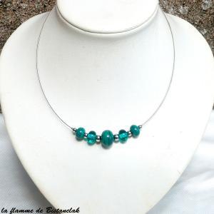 Collier artisanal perles de verre bleu vert canard