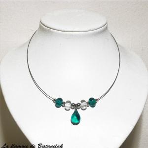 Collier artisanal perles de verre et goutte bleu canard