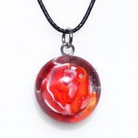 Collier cabochon artisanal rose rouge et blanche en verre file