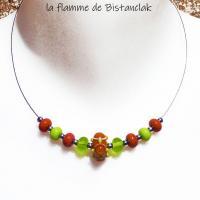 Collier court perle 4 points vert et cuivre orange en verre file creation par bistanclak