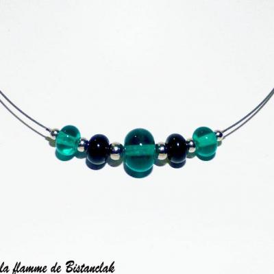 Collier court perles de verre ronde bleu vert canard creation artisanale 1