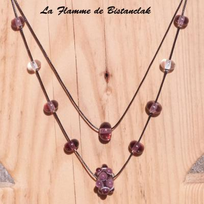 Collier double rang perles de verre Virus rose glycine