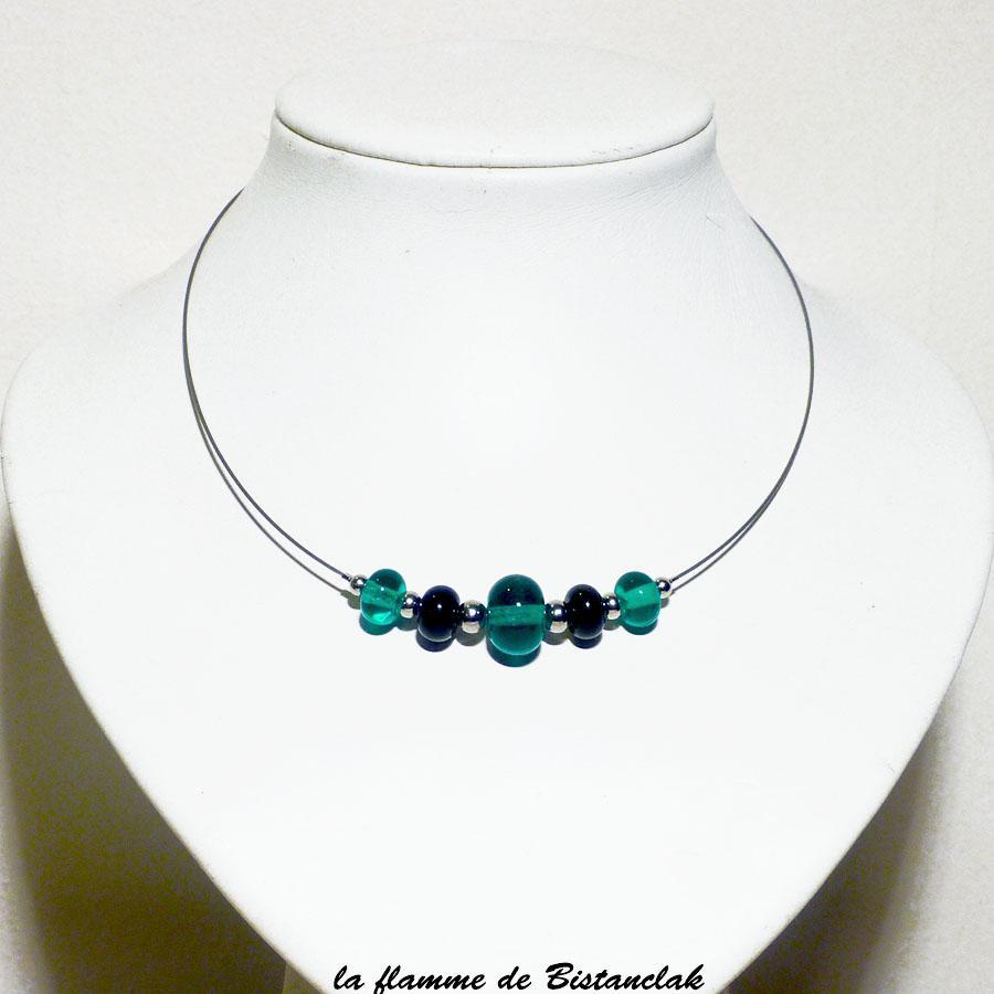 Collier de perles de verre rondes bleu vert canard vendu en ligne