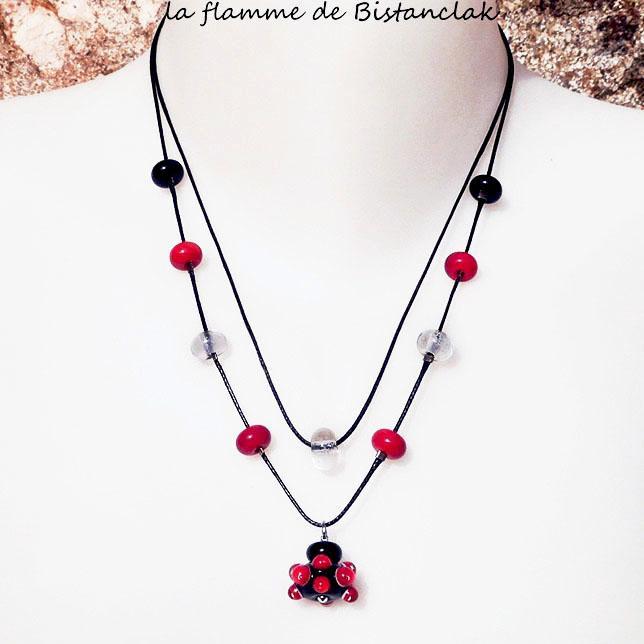Collier double rang perle de verre file rouge et noir