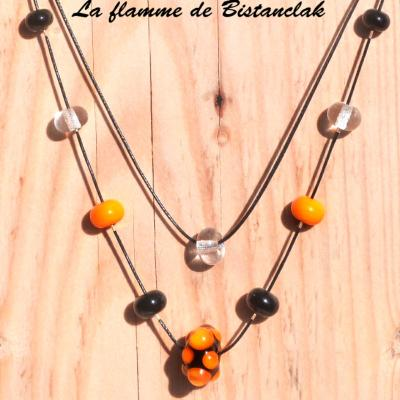 Collier double rang perles de verre Virus orange et noir