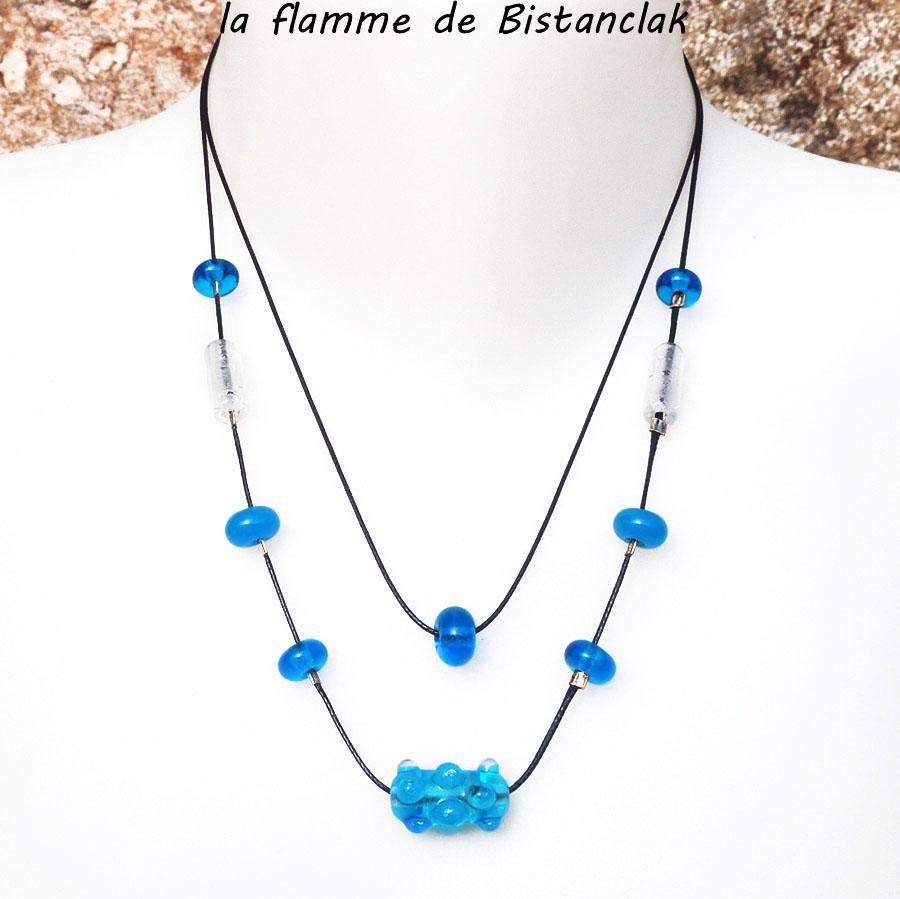 Collier double rang perles de verre file bleu turquoise collection virus