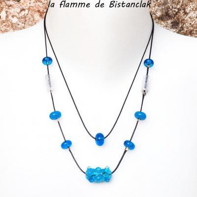 Collier double rang perles de verre Virus turquoise