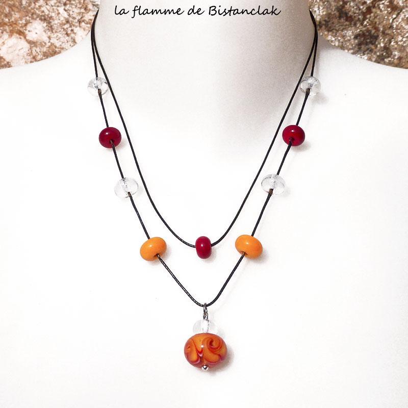 Collier double rang perles de verre file jaune orange et rouge collection fleur en spirale