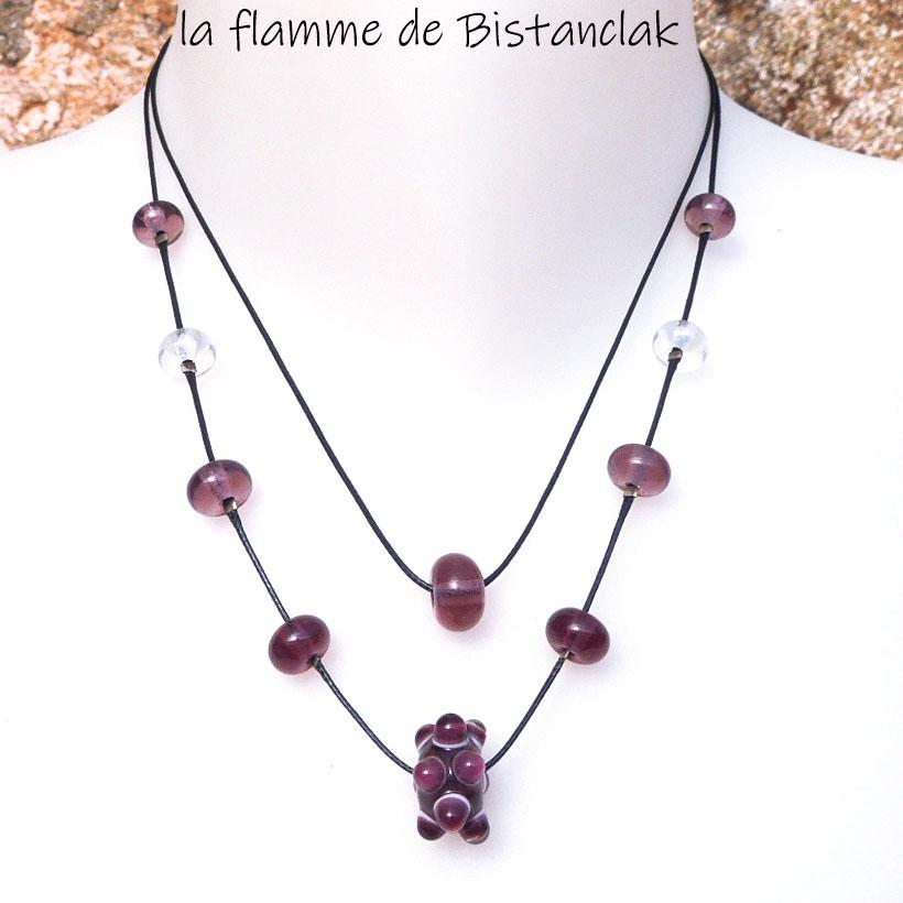 Collier double rang perles de verre file rose glycine collection virus
