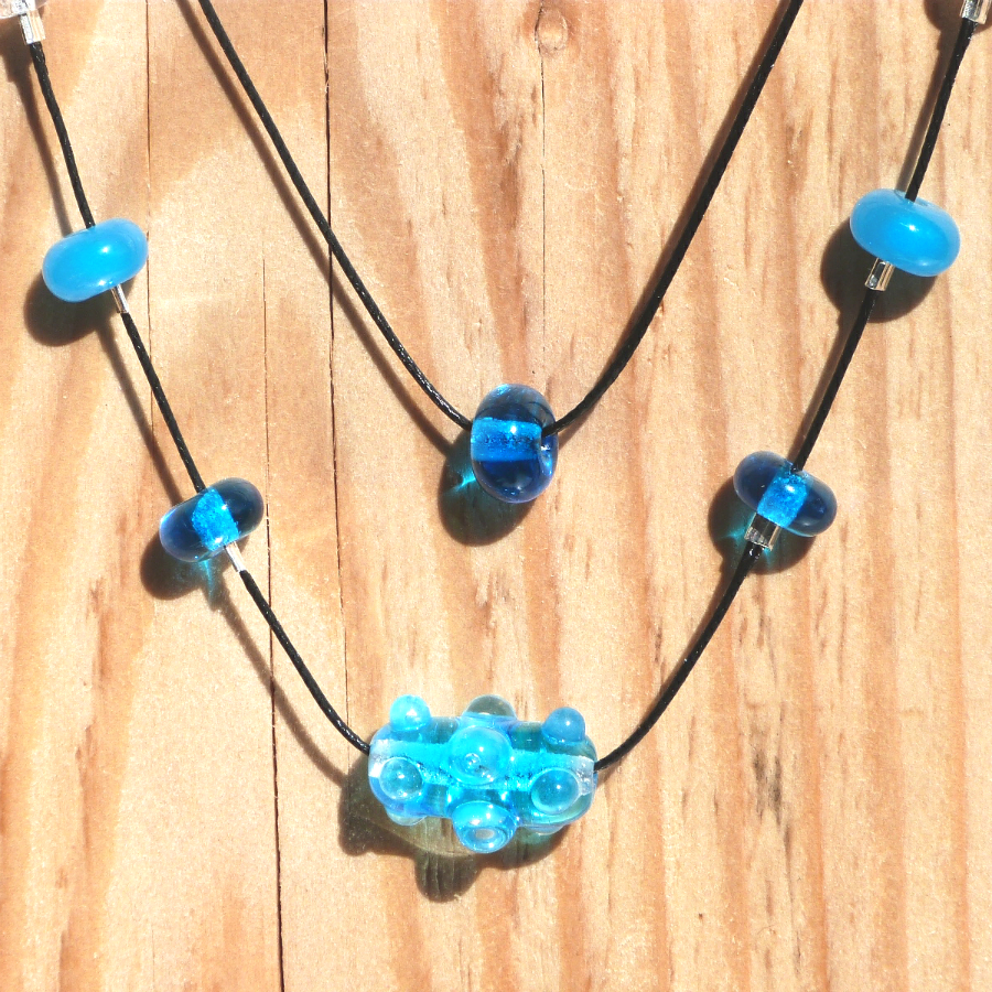 Collier perle double rang virus turquoise 1