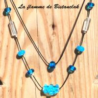 Collier perle double rang virus turquoise 3 1