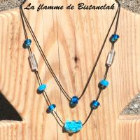 Collier perle double rang virus turquoise