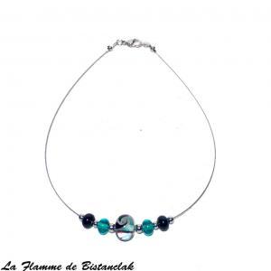 Collier perles de verre bleu canard et noir 1