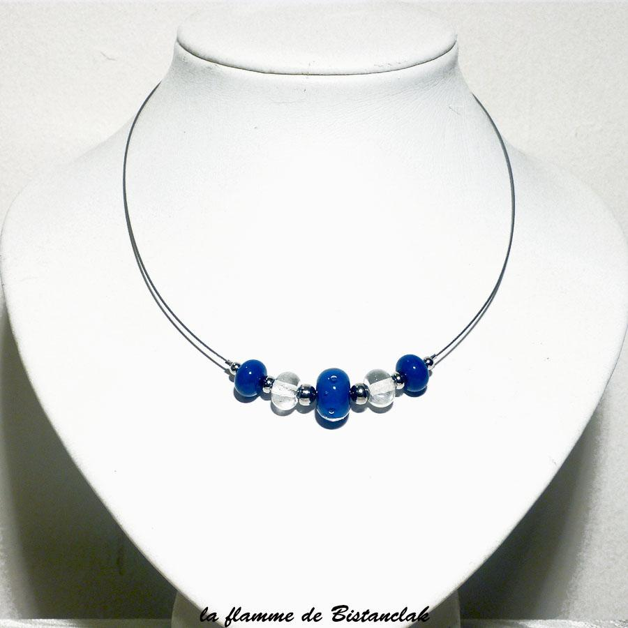 Collier perles de verre file rondes bleu lapi et transparentes vendu en ligne 2