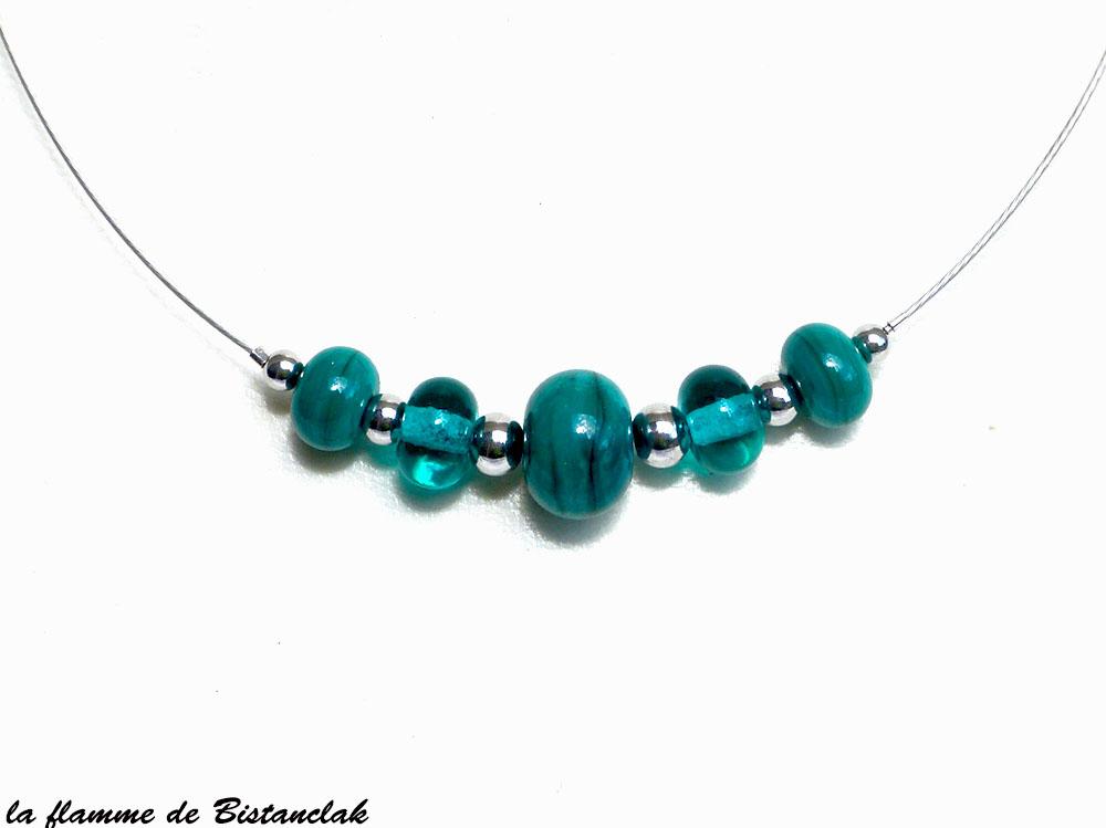 Collier perles de verre file rondes bleu vert canard vendu en ligne