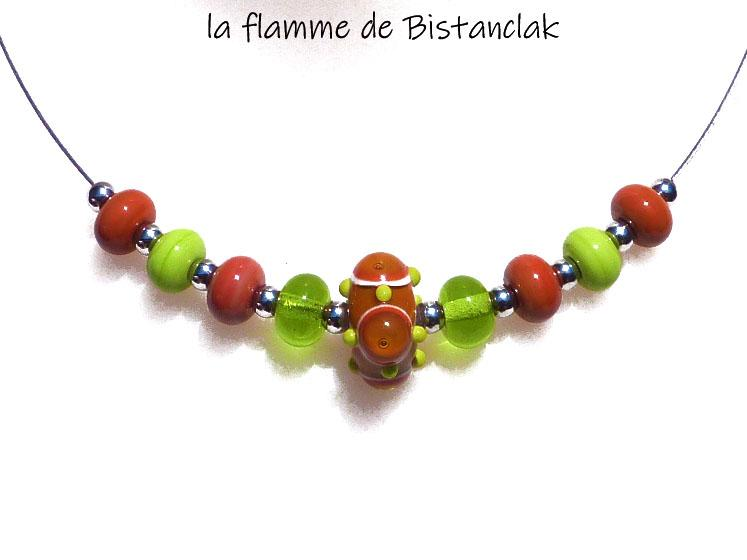 Collier perles de verre file vert pomme et cuivre orange