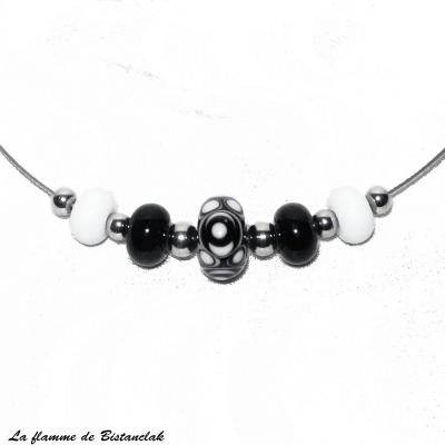 Collier perles de verre noir et blanc collection psyché
