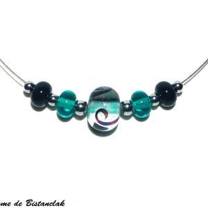 Collier ras du cou perles de verre file bleu canard et noir