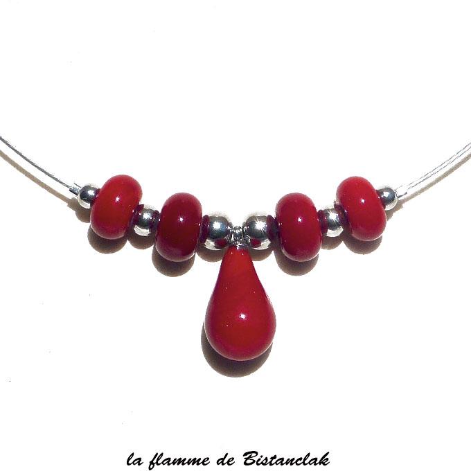 Collier rouge goutte et perles de verre